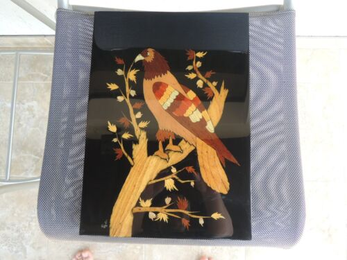 vtg.Asian Wood Picture lacquered Marquetry eagle, falcon signed