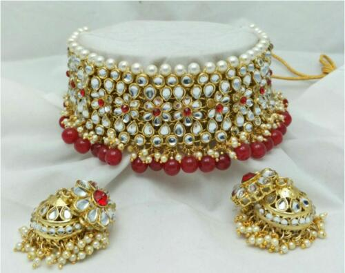 Indian Gold Plated Choker Bridal Wedding Kundan Jewelry Necklace Earrings Set