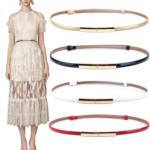 Women Fashion Skinny Patent Leather Belt Gold Solid Plaque Buckle Waistband Pack