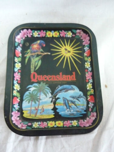 Vintage QUEENSLAND  AUSTRALIA TIN TRAY METAL retro