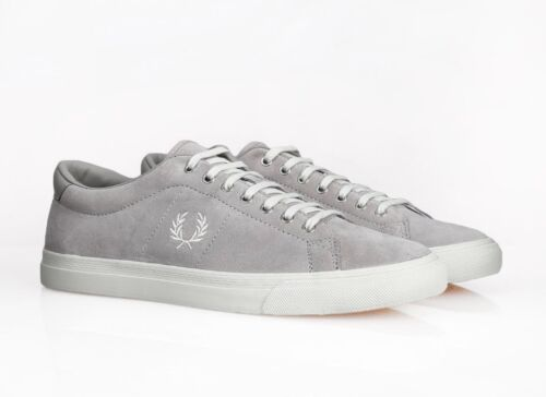 Fred Perry Men's Underspin Suede Leather Trainers Shoes - B9091-929 - Silver