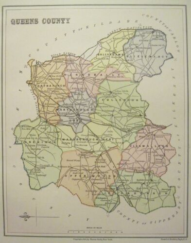 Irish Map QUEENS COUNTY Laois Laoix Baronies Ireland Midlands Thomas Kelly 1881