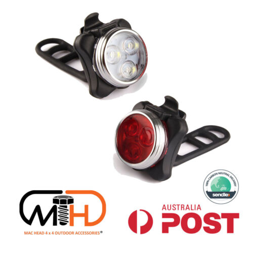 IPX4 Waterproof Bicycle Bike Lights Front Rear LED Light Lamp USB Rechargeable