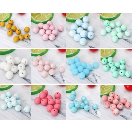 10Pcs Silicone Marble Round Baby Teether Bead DIY Teethers Necklace Baby Care