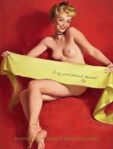 """Nude Woman As Gift 8.5x11"""" Photo Print Lovely Female Gil Elvgren Pin-up Artwork"""