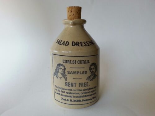Vintage ENGLISH STONEWARE SALAD DRESSING CRUET ENGLAND ANTIQUE ADVERT CURLS HAIR