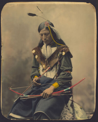 1899 Native American, Hunter, Portrait, Bone Necklace, Chief Photo, 24x18
