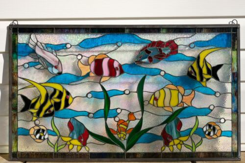 "Fish under the Sea Handcrafted stained glass window panel.34.5"" x 20.5"""