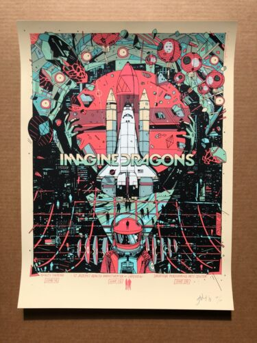 Tyler Stout Imagine Dragons Hartford Syracuse Saratoga Springs screen print 2018