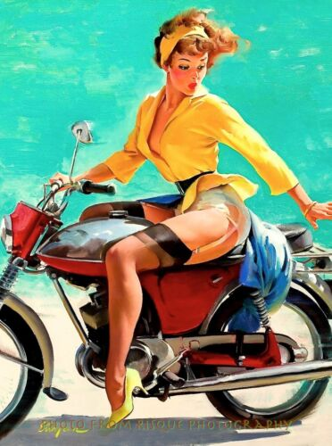 """Beautiful Woman on Motorcycle 8.5x11"""" Photo Print Gil Elvgren Pinup Lost Skirt"""