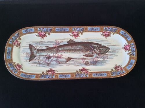 GARFIELD AESTHETIC  POTTERY FISH PLATTER PINK ROSES SEA LIFE Rd NO 8844 ANTIQUE