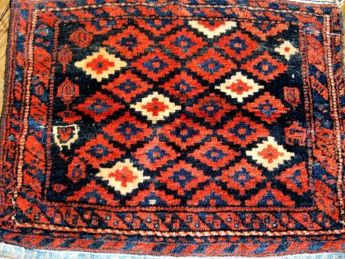 1900 ANTIQUE KURDISH BAG FACE  GREAT COLORS