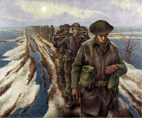Infantry near Nijmegen, Holland by Alex Colville   Giclee Canvas Print Repro