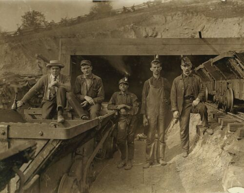 """Mining photograph, Young miners, antique Miner decor, Coal, Nice, 20""""x16"""""""