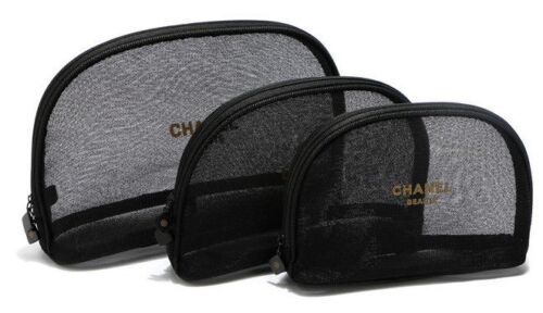 Chanel Beaute Cosmetic Makeup Bag Black Mesh 3 Sizes Excellent for Beach NEW