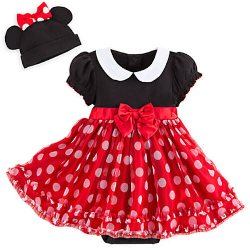 NWT Disney Store Minnie Mouse RED Baby Costume & 3D Ears Hat SET 3 6 9 12M