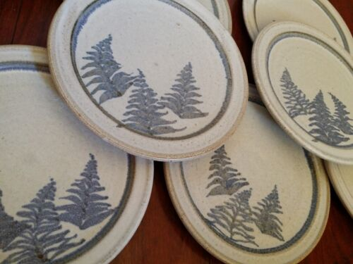 7 RARE GOODSELL STONEWARE POTTERY PLATES PLATE TREES PINE SPRUCE MOUNTAIN CABIN