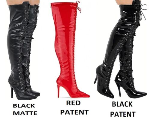 Ladies Thigh High Over The Knee Fetish Boots Front Lace Stiletto Heel Sizes 3-12