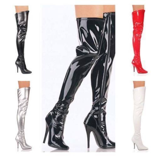 New Womens Ladies Thigh High Over The Knee High Heel Stretch Boots Sizes UK 3-12