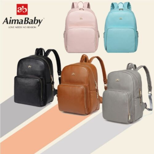 AiMaBaby Mummy Baby Bag Backpack Diaper PU Waterproof Large Multifunction Travel
