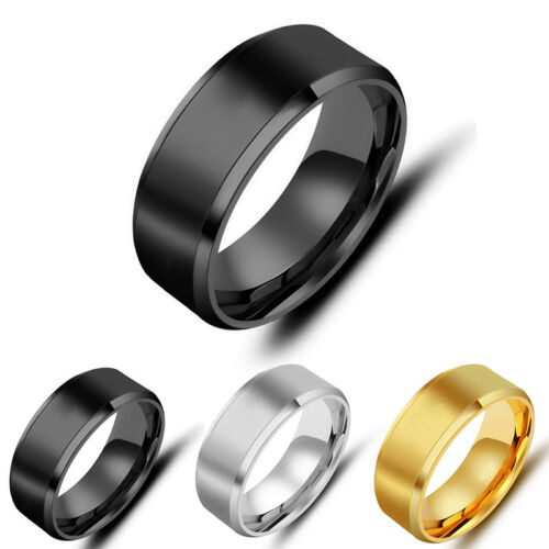 Mens Titanium Stainless Steel Ring Promise Engagement Wedding Ring Band Size7-12