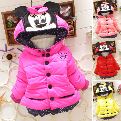 Baby Girls Toddler Kids Mickey Mouse Hooded Jacket Coat Winter Warm Hood Outfits