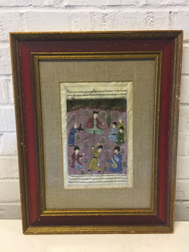 Vintage Moghul Mogul Painting of Calligraphy & Figures Dancing & Playing Music