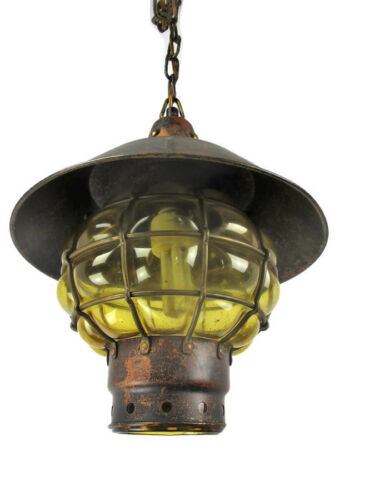 Vintage Amber Brown Glass Light Bubbled Caged Glass Pendant Shade  Lantern