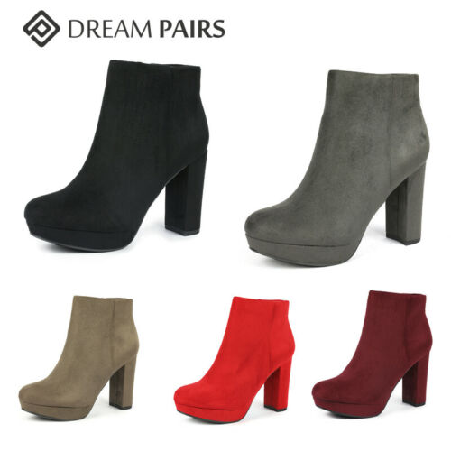 DREAM PAIRS Women's STOMP Block High Heel Suede Dress Casual Ankle Bootie US