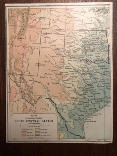 """Vintage Color TEXAS / SOUTH CENTRAL STATES  Print Plate 6.5"""" x 8.5"""" Unframed"""