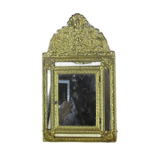 Vintage mirror Brush Embossed Brass Glass Cabinet  Continental  Ornate Brushes