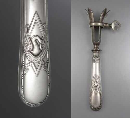 Antique French Silver Plated Gigot Holder, Empire Style, Swan