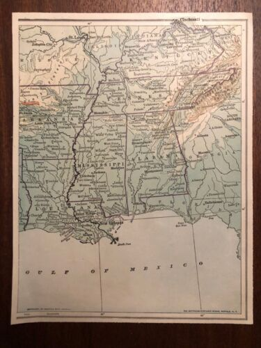 """Vintage Color US SOUTH SOUTHERN STATES  Print Plate 6.5"""" x 8.5"""" Unframed"""