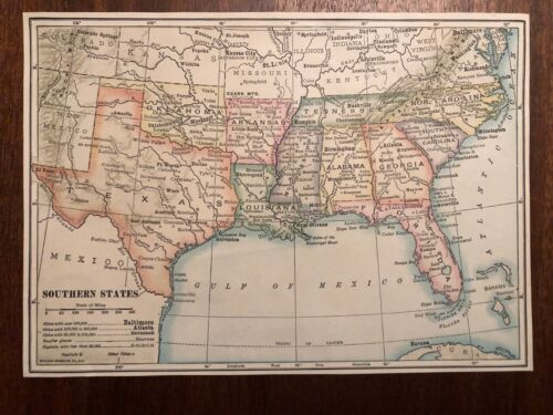 """Vintage Color US THE SOUTH SOUTHERN STATES Print Plate 5.5"""" x 8"""" Unframed"""