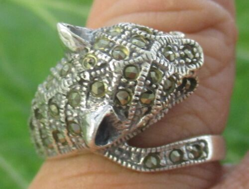 """REAL 925 sterling silver """"Leopard"""" plain oxidised  Ring size O1/2 to T- BOY MEN"""