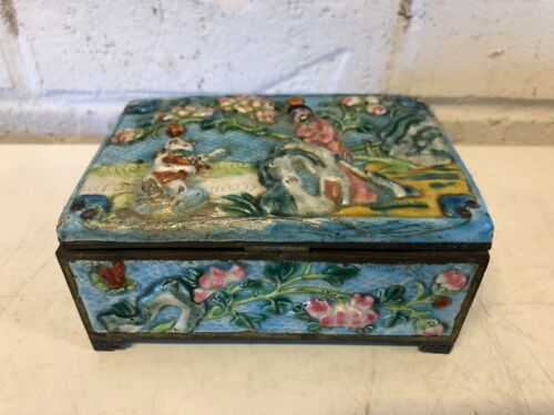 Antique Chinese Cloisonne and Brass Cigarette Box w/ 2 Trays Men Under Tree Dec