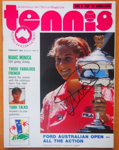 MONICA SELES PERSONALLY SIGNED TENNIS MAGAZINE WITH CERTIFICATE OF AUTHENTICITY