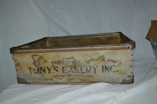 Antique Primitive General Store  Bakery Bread  wood metal display Crate Box