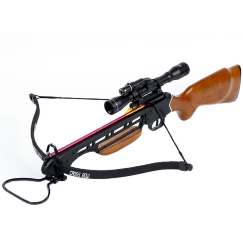 150 lb Wood Hunting Crossbow Bow w/ 4x20 Scope + 7 Bolts / Arrows 180 175 80 50Crossbows - 33972