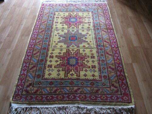 Antique/Vintage Hand Woven Tribal Natural Dyes Rare Yellow Field KAZAK Wool Rug