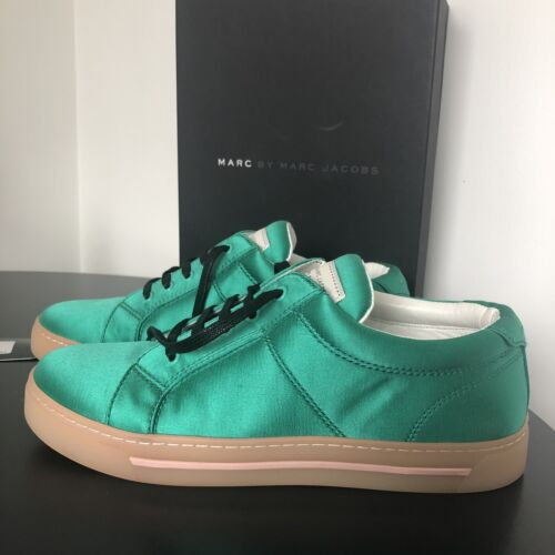 Marc by Marc Jacobs size 40 green satin MYLO sneakers NEW in box shoes runners