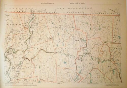 1891 Original Map of Towns of Franklin & Worcester Counties Cty Mass MA, Old