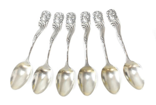 6 Frank M Whiting Sterling Silver Demitasse Spoons in Marquis Pattern, Iss. 1899