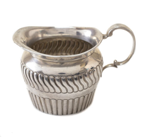 Antique George Unite Victorian Birmingham Sterling Silver Ribbed Creamer, 1884