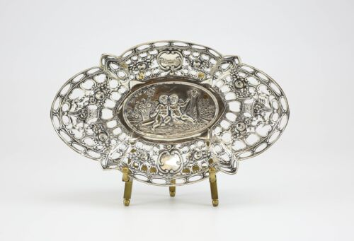 .800 Silver German Reticulated Dish; Repousse Angels & Floral Design