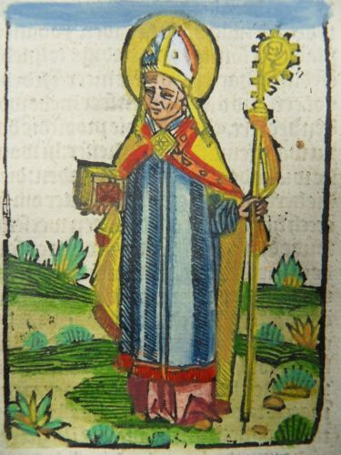 SAINT JOHN CHRYSOSTOM ANTIOCH DUTCH INCUNABLE LEAF COL WOODCUT ANTWERP 1505 J07