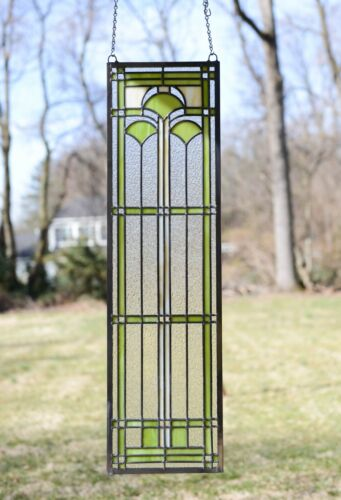 """10"""" x 35.25"""" Handcrafted stained glass window panel Ginkgo leaf"""