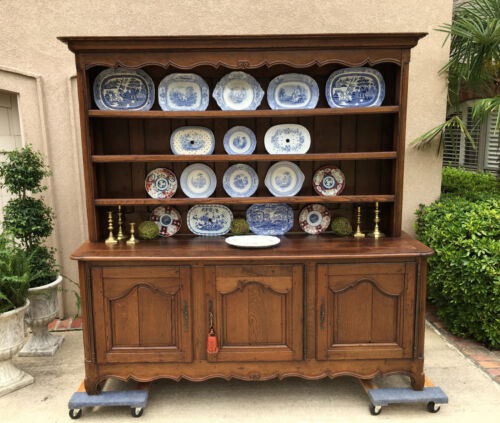 LARGE Antique French Country Carved Oak Sideboard Buffet Kitchen Dresser Cabinet