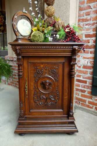 SLIM Antique French Carved Tiger Oak Jam Cabinet -Wine Liquor-Renaissance