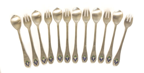 12 Japanese 800 Silver and Enamel Modernist Fork and Spoons, 20th Century